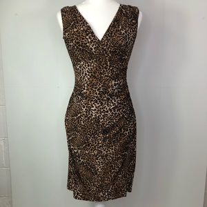 Vtg Ralph Lauren Cheetah Print wrap dress sheath